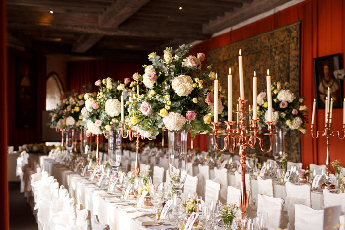 Classic wedding theme at Leeds Castle