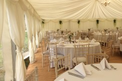9m Marquee with Linings Matting and Furniture